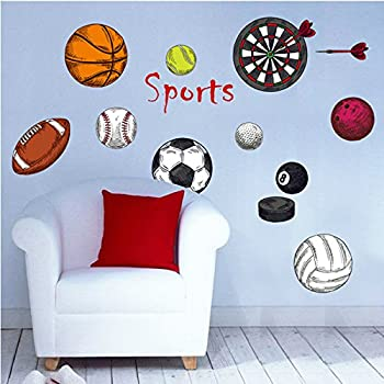 Amaonm Removable 3D Sport Ball Toy Games Wall Stickers Decor DIY Basketball  Football Tennis Rugby Peel Part 23