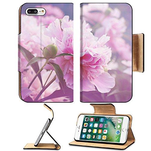 Luxlady Premium Apple iPhone 7 Plus Flip Pu Leather Wallet Case iPhone7 Plus 23438046 Peony floral background