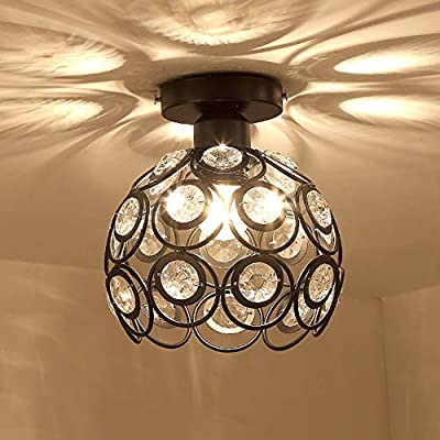 Gotian Elegant Modern Metal Ceiling Light in Round Shape, Flushmount Light Fixture Warm Light, for Bedroom Bathroom 18cm/7.1inch