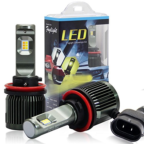 Win Power H11 LED Headlight Conversion Kit 6000k/3000k Dual Color Cree H8 H9 Fog Lights Headlight Bulb-2 Year Warranty(T1 Series) (Kit Conversion Flasher)