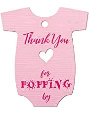 Summer-Ray 50pcs Baby Onesie Baby Shower Favor Thank You Tags Thank You for Popping (Pink)