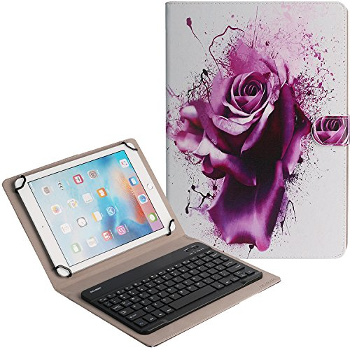 DICHEER Bluetooth Keyboard Leather Case,Universal Compact Portable Case - 10 Inch Apple Ipad Case