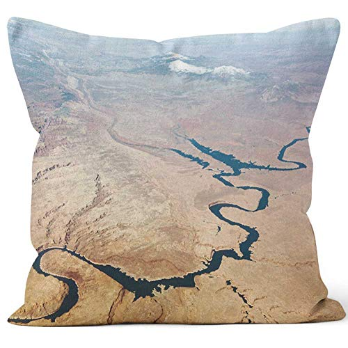 Nine City Lake Powell Aerial View Burlap Pillow,HD Printing for Couch Sofa Bedroom Livingroom Kitchen Car ()