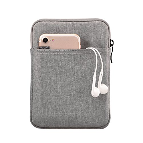 TFY E-Reader Protective Pouch Bag with Zip Closure, Plus Bonus Hand Strap Holder for 6 inch e-Readers - Kindle 6 inch/Paperwhite/Voyage/Oasis 6 Inch/Nook GlowLight Plus/Kobo Aura/Touch 2.0