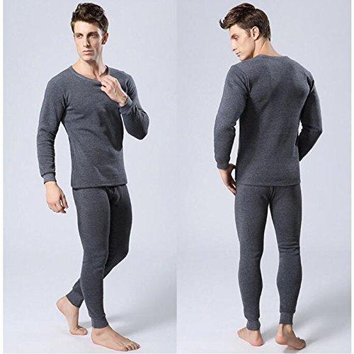 ZX Solid Color Round Neck Men Women Thermal Underwear Set Inner Wear Undershirt Long Pants Warm WU6453 Light gray M