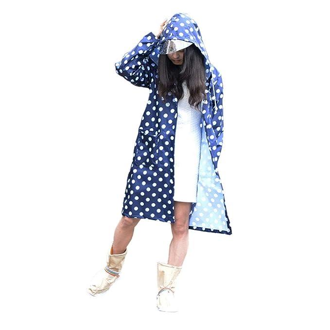 Feicuan Mujer Impermeable Lluvia Abrigos, Adultos Chubasquero Rainwear Dot Poncho Waterproof Outdoor with Two Pockets: Amazon.es: Ropa y accesorios