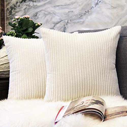 (JOJUSIS Pack of 2 Striped Corduroy Throw Pillow Covers Plush Velvet Soft Solid Decorative Cushion Pillow Cases for Sofa Bedroom Car 18 x 18 Inch Cream Cheese)