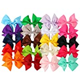 Hecentur 20PCS 3Inch Grosgrain Ribbon Boutique Hair Alligator Clips For Girls Toddlers Teens Babies Set of 20 Color
