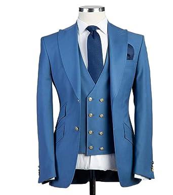 7a61d1df8eabc7 Peak Lapel Men 3 Pieces Suit Two Button Slim Fit Wedding Suit Groom Tuxedo  Suit at Amazon Men's Clothing store: