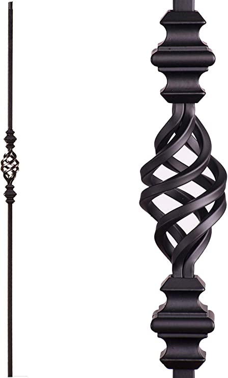 Hollow 1//2 Single Basket Square Iron Spindles Wrought Iron Balusters Stair Parts Single Basket Stair Metal Balusters Box of 10 Satin Black