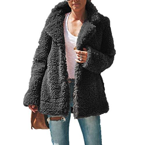 Manga Sherpa De Cazadora Chaquetas Top Coat Jacket Suéter Gris Mujeres  Fashion Solapa Abrigo La Calentar Ropa Outerwear Larga Oscuro wxEwZBPqX a6b0a64e6e54