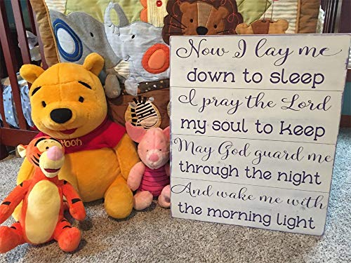 Burkewrusk Now I Lay me Down to Sleep Nursery Sign Girl Prayer Plaque I Pray The Lord My Soul to Keep May God Guard Shabby Chic Baby Gift