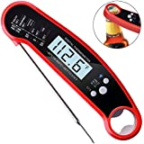 Meat Thermometer, Ulocool Waterproof Instant Read Cooking Thermometer, Kitchen Thermometer with Digital Display and Bottle Opener Function for Food, Candy, Milk, Tea, BBQ Grill Smokers (Red)
