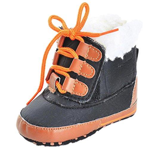 Iuhan Anti-slip Baby Boy Girl Tie Shoelaces Boots Soft Sole Boots Prewalker Warm Shoes (Age:0~6 Month, Black)