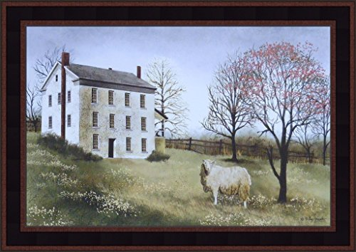 Spring At Whitehouse Farm by Billy Jacobs 15x21 Wool Sheep Salt Box House Primitive Folk Art Print Framed picture