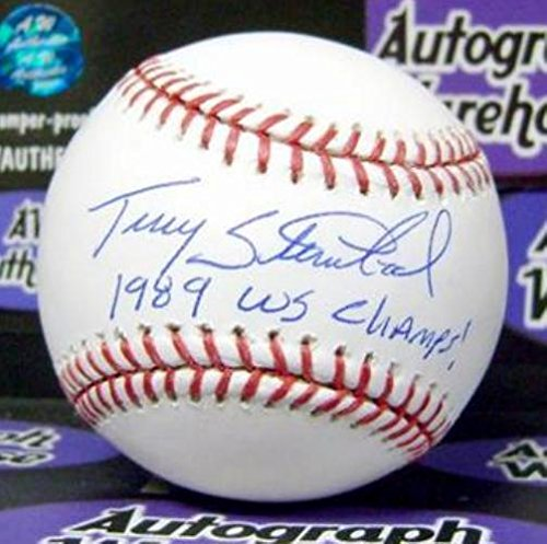 Terry Steinbach Signed Baseball - inscribed 1989 WS Champs OMLB World Series) - Autographed (Steinbach Signed)