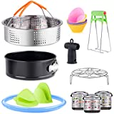 16pcs Instant Pot Accessories Set Fits 5,6,8Qt-Steamer Basket,Non-stick Springform Pan,Baking Cups/Steamer Rack,Silicon Steam Driver,Sealing Rings,Dish Plate Clip,Oven Mitts,Magnetic Cheat Sheet