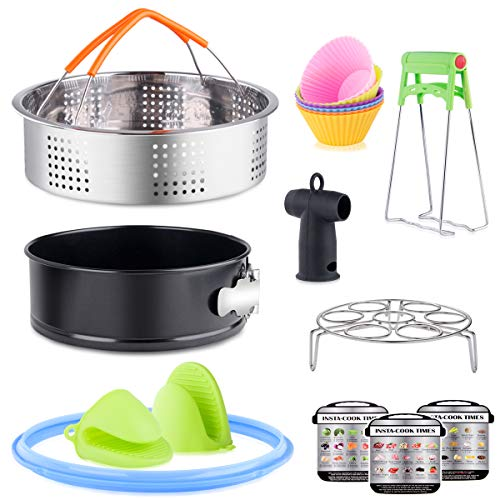HUICOCY 16pcs Instant Pot Accessories Set,Fits 5,6,8Qt-Steamer Basket,Non-stick Springform Pan,Baking Cups/Steamer Rack,Steam Release Diverter,Sealing Rings,Plate Clip,Oven Mitts,Magnetic Cheat Sheet