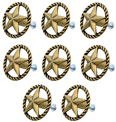 Pull Lone Star (8 Piece Set - Western Star / Rope Drawer Pull Cabinet Knobs Antique Brass / Bronze Finish)
