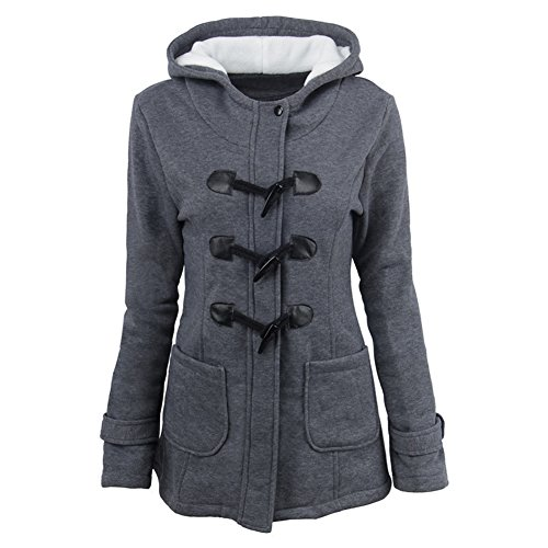 Ablanczoom Women's Autumn Winter Classic Outdoor Wool Blended Hooded Pea Jacket by Ablanczoom