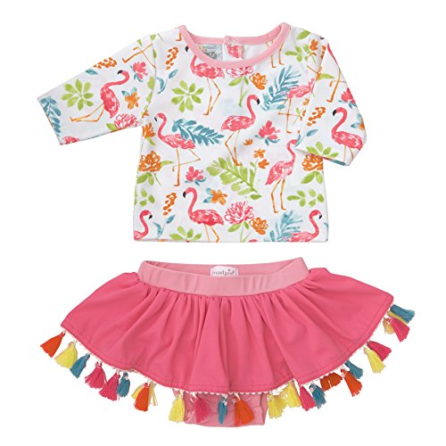 Mud Pie Baby Girls Floral Flamingo Two Piece Rash Guard Swimwear, White, 12-18 Months