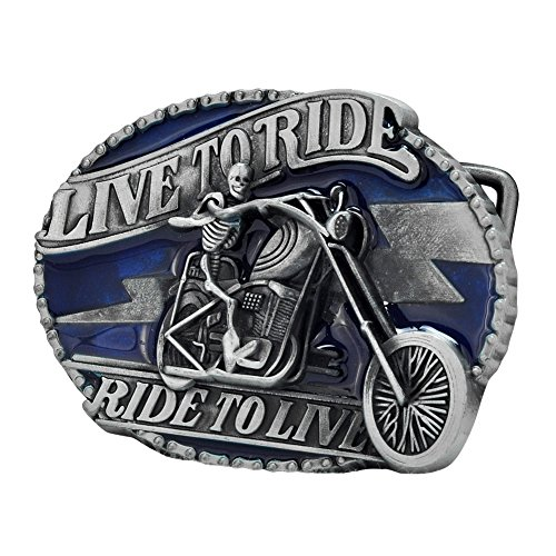 Buckle Rage Live To Ride Skull Skeleton Biker Motorcycle Belt Buckle Blue - Biker Belt Buckle Skull