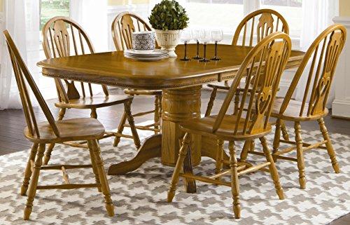 Brooks Furniture Brooks Furniture 1724272 Laminate Top Square Round Pedestal Table with 2 Leaves and Sweetheart Side Chairs, Medium, Oak Finish (Desks Medium Oak Laminate Top)