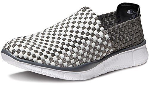 MK-V474-GW_Men 9 D(M) Makani Unisex Ultra Lightweight Multicolor Woven Sneaker Slip-on Shoe V474