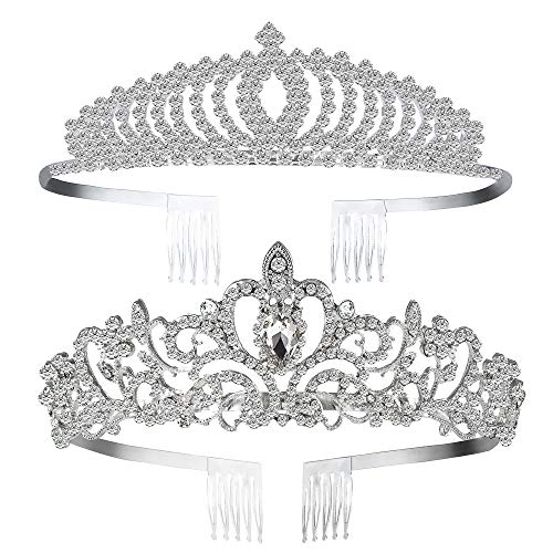 Paxuan 2 Pack Silver Wedding Bridal Crystal Tiara Crown with Comb Rhinestone Princess Headband Headpiece for Girls Women Birthday Pageant Party Wedding Prom Bridal (2pcs-Style 2)]()