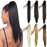 FUT Jaw Claw Ponytail One Piece Clip in Straight Pony Tial Hair Extensions 21inch 150g for Girl Lady Women