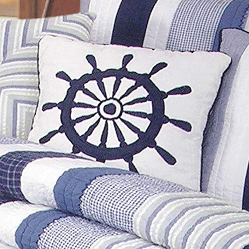 (Bella Coastal Decor Nantucket Dream Ship's Wheel Pillow)