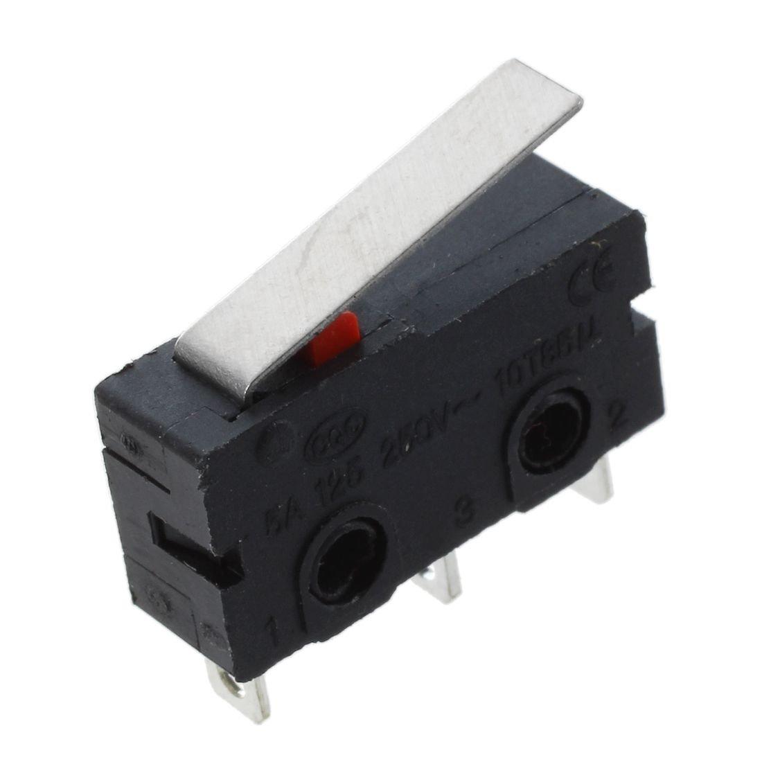 10 Pcs AC 125V 5A SPDT 1NO 1NC Droite courte levier de charniere Mini Micro Switch SODIAL R