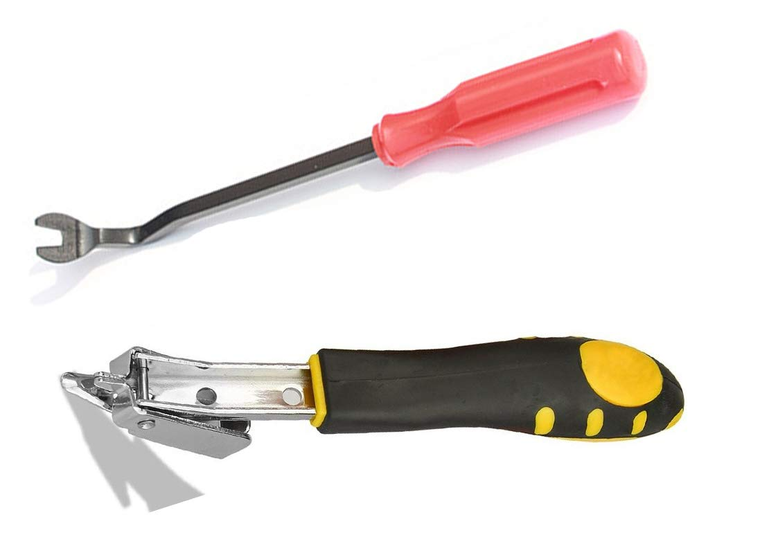 Chrome Steel 2 Pieces Professional Tack Puller Set,Upholstery Staple Remover Tool Heavy Duty,Quickly and Easily Extract all Kinds of Nails