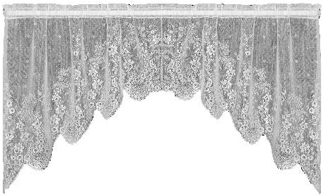 Heritage Lace Floret 68-Inch Wide by 32-Inch Drop Swag Pair, Ecru