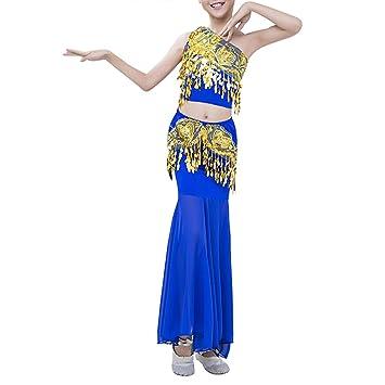 be5433376ad TAAMBAB Robe pour Latine Salsa Rumba Zumba Filles - Costume Latino Robe de  Danse Ventre Costume