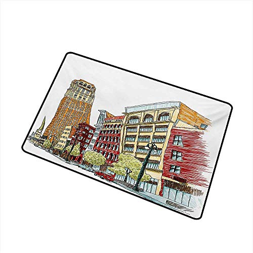Becky W Carr Detroit Welcome Door mat Buildings on Woodward Avenue in The Downtown Detroit Artistic Sketchy Urban Scene Door mat is odorless and Durable W15.7 x L23.6 Inch,Multicolor