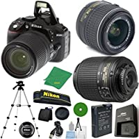 Nikon D5300 - International Version (No Warranty), 18-55mm f/3.5-5.6 DX VR, Nikon 55-200mm f4-5.6G ED DX Nikkor, Tripod, 6pc Cleaning Set
