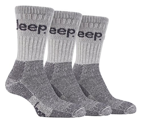 Jeep - 3 Pack Mens Thick Heavy Cushioned Padded Cotton Hiking Boot Crew Socks (Stone)