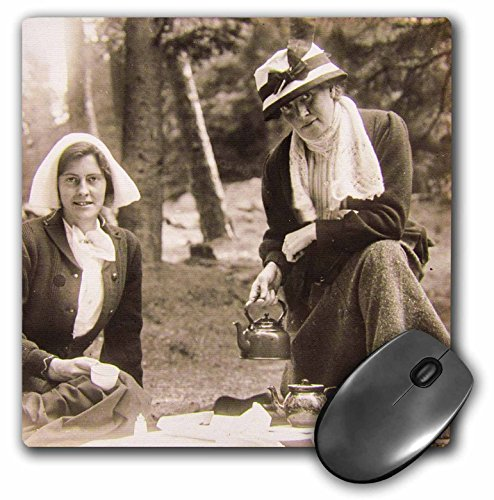 3dRose Scenes from the Past Magic Lantern Slides - Vintage Edwardian Ladies Taking Tea Outside in England Circa 1900 - MousePad (mp_269911_1)