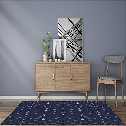 for Home or Travel abstract geometric pattern with lines squares a seamless vector background dark Easier to Dry for Bathroom 2' X 4' by L-QN