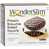 WonderSlim Protein Brownie Baked Square - Low Sugar, High Fiber, Chocolate Fudge, 5 ct