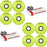Labeda Inline Roller Hockey Skate Wheels Addiction Yellow 80mm 4 Set Bones Swiss