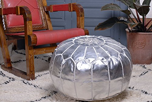 Adore Genuine Leather (Moroccan Pouf Ottoman Footstool, Silver, Handmade.)