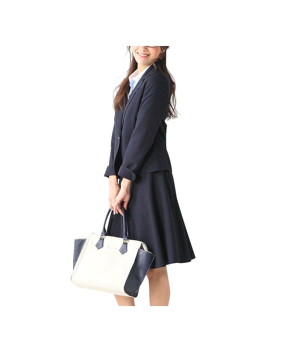 (ニッセン) nissen スカートスーツ 洗える 上下 セット (パイピング テーラードジャケット + フレアスカート) 令嬢スーツ レディース 大きいサイズ 15号 17号 19号 21号 23号 26号 30号 34号 38号 B0793QMMBC  ネイビー 17号