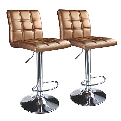 Leopard Square Back Adjustable Hydraulic Swivel Bar Stools, Set of 2 , Gold (Upholstered Stool Swivel)