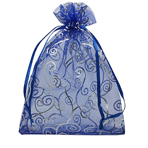 - YIJUE 100pcs 5x7 Inches Drawstrings Organza Gift Candy Bags Wedding Favors Bags (Navy Blue with Silver)