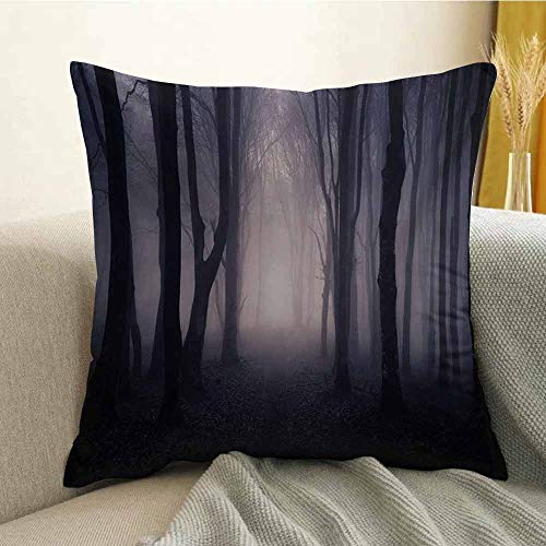 Forest Silky Pillowcase Path Through Dark Deep in Forest with Fog Halloween Creepy Twisted Branches Picture Super Soft and Luxurious Pillowcase W18 x L18 Inch Pink -