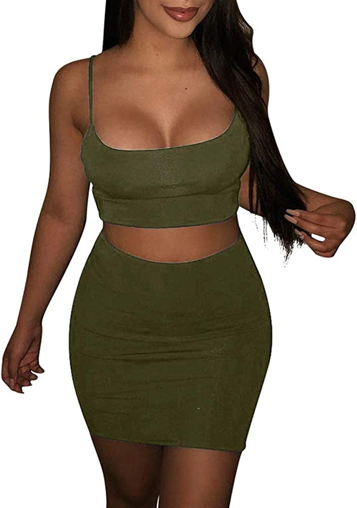 Women Two Piece Bodycon Crop Top and Skirt Set Evening Cocktail Party Dress
