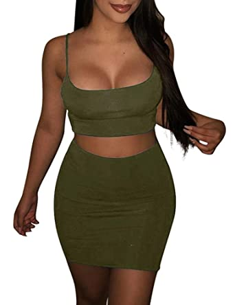 989a31c982da0 BORIFLORS Women s Sexy 2 Piece Outfits Strap Crop Top Skirt Set Bodycon  Mini Dress