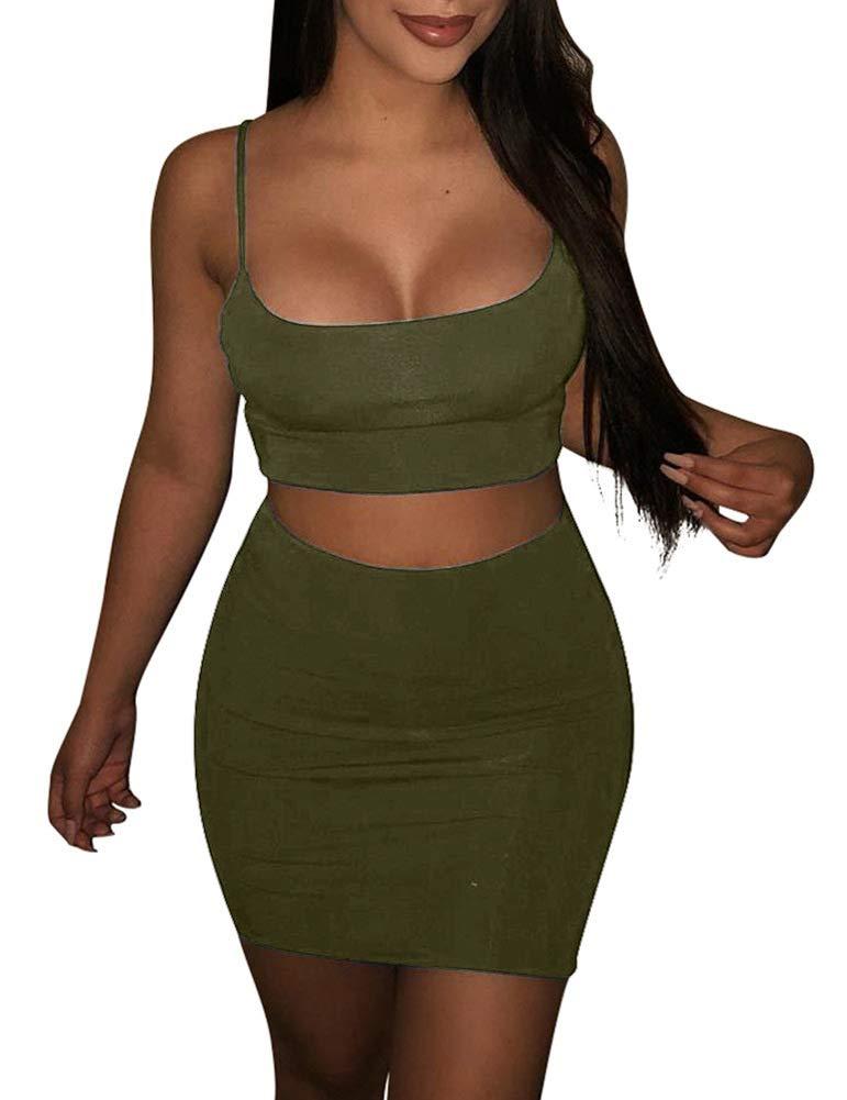 SINRGAN Womens Casual 2 Piece Short Sleeve Crop Top Bodycon Skirt Set